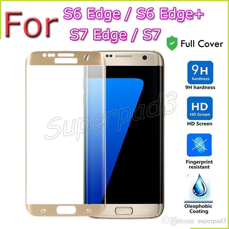 Premium Samsung Galaxy S7 Edge S7 S6 Edge S6 Edge+ Tempered Glass Screen Protector 9H Full Cover Curved Protective Film with Retail Box