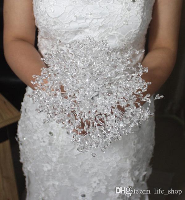 جديد الزفاف باقة الزفاف حزب زينة الشاش اليد عقد زهرة واضحة الاكريليك الخرز الزهور الاصطناعية dhez02