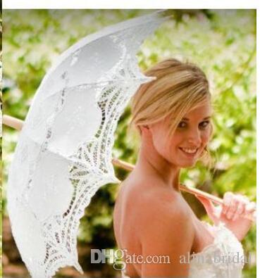 Parasol de encaje blanco vintage paraguas para el banquete de boda del cordón de listón nupcial hecho a mano paraguas paraguas de la boda blanco bordar paraguas de playa