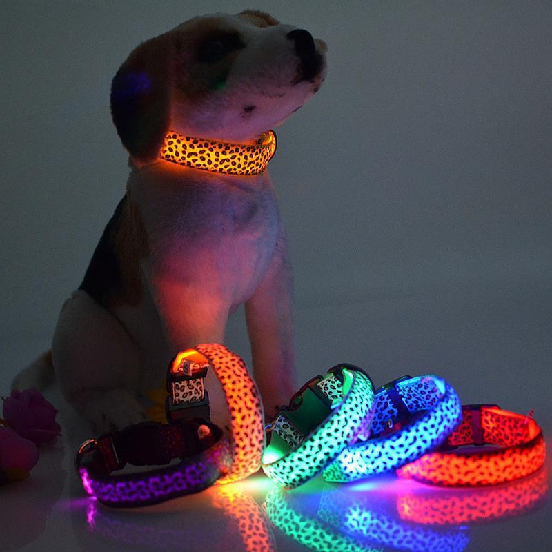 Sexy Leopard Print LED Dog Collars LED Pet Flashing Collars Nylon 3 Size 6 Colors 100PCS/LOT