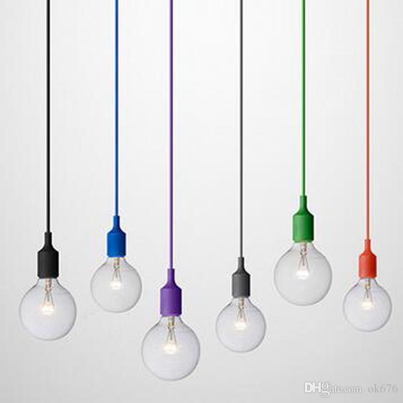 online store a6c20 027ca Art Decor Silicone E27 Pendant Lamp Ceiling Light Bulb Holder Hanging  Lighting Fixture Base Socket Modern Silica Gel Retro Colorful Cool Pendant  ...