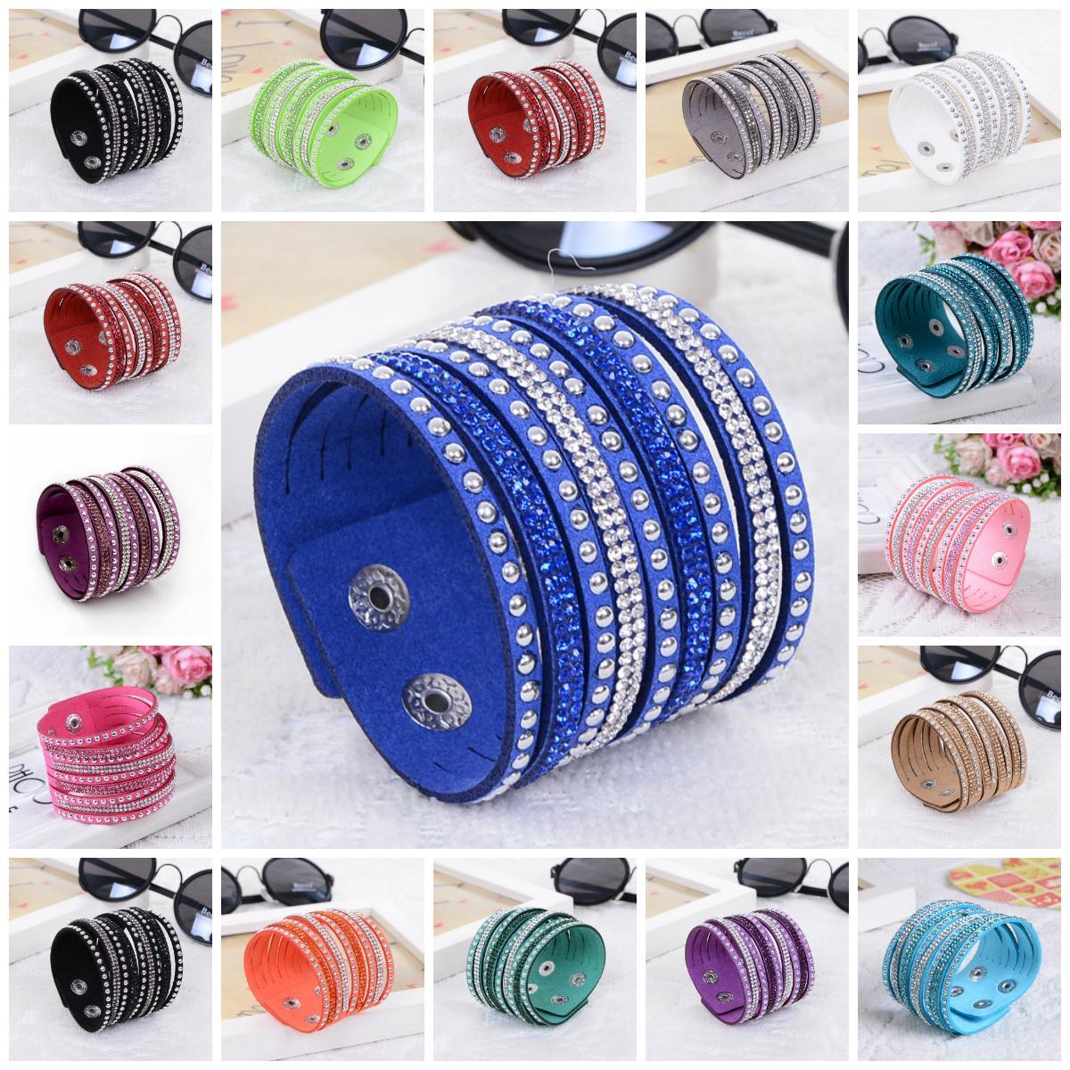 Bracelet à breloques pour femmes brillantes multicouche en cuir strass cristal Bracelet en cuir blanc / noir / bleu boutons Bracelet en cuir