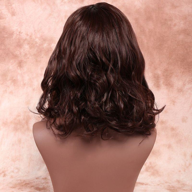 Großhandel Zhifan Dunkelbraunes Haarfärbemittel 14inch Medium Frisuren Seite Knallt Lockige Perücken Für Weiße Frauen Charmante Wellig Von Zhifanwig