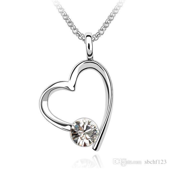 Europa en de VS grote mode choker ontwerper sieraden hart hanger kristallen kettingen voor vrouwen 18K wit vergulde 703