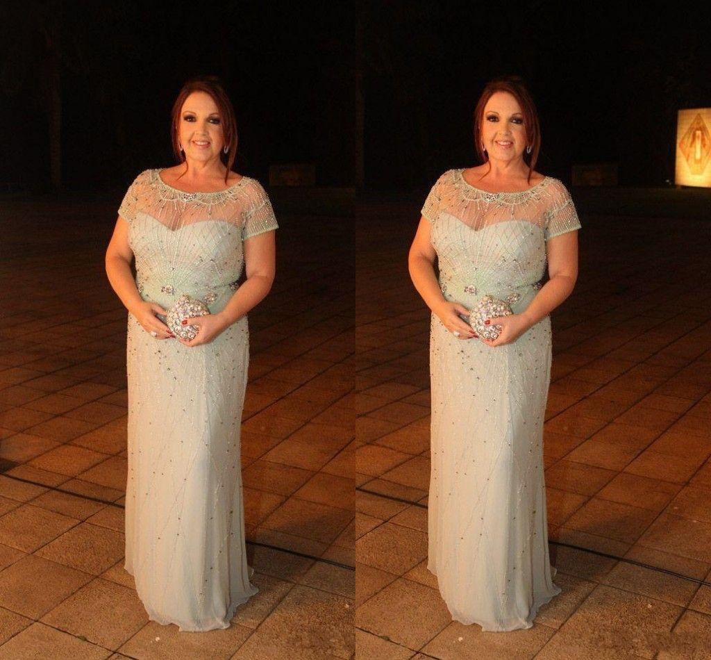 2020 Plus Size Bling Silber Chiffon Brautmutterkleid Illusion kurzen Ärmeln Kristall Perlen Mantel Hochzeit Mutter des Bräutigams Kleider
