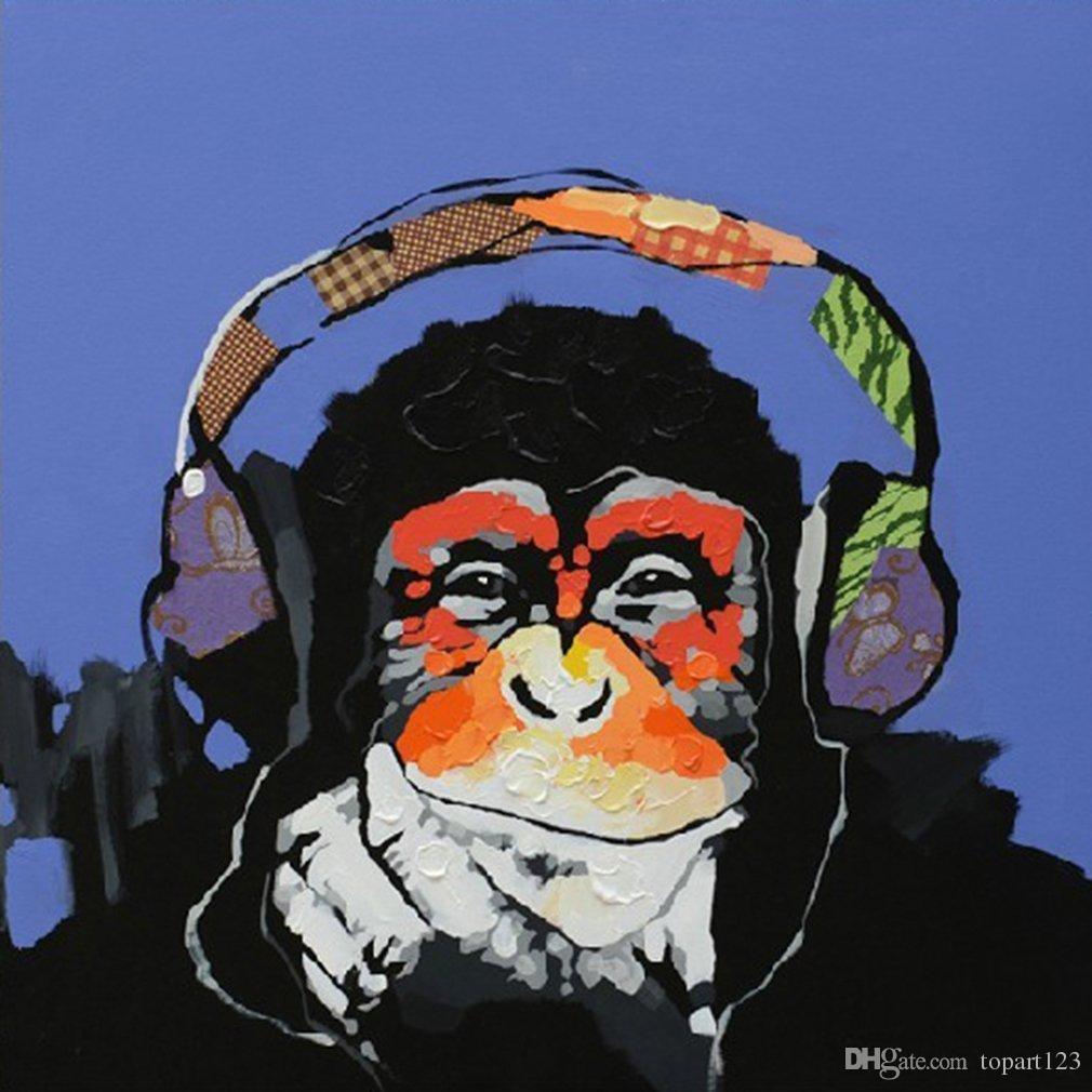100 Modernes Lgemlde Gemalt Von Hand Musik Gorilla Moderne Kunst Auf Leinwand Gemlde Fr Wohnzimmer