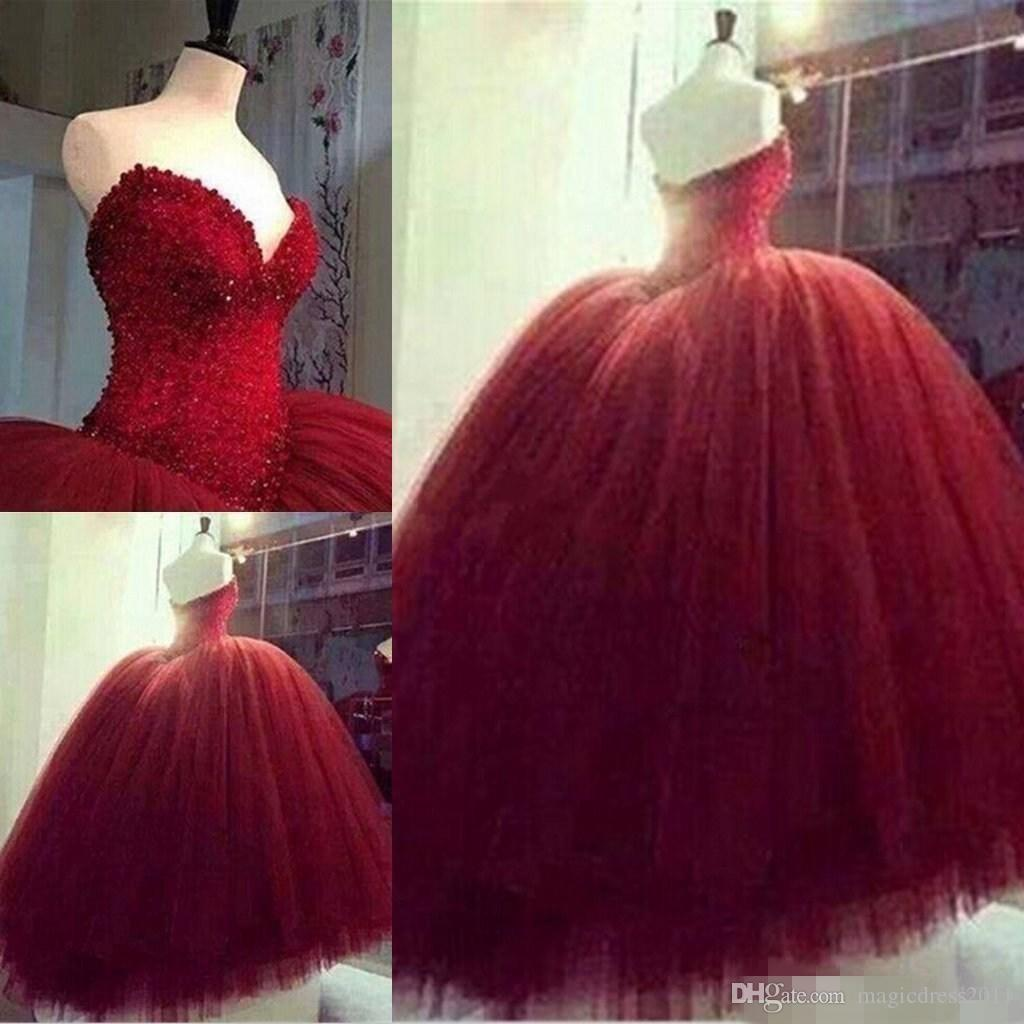 Compre 2019 Rojo 16 Vestidos De Novia De Quinceañera Corsé De Tul Con Abalorios Con Cuentas Tops Vestidos De Fiesta De Tul De 15 Niñas Vestidos De