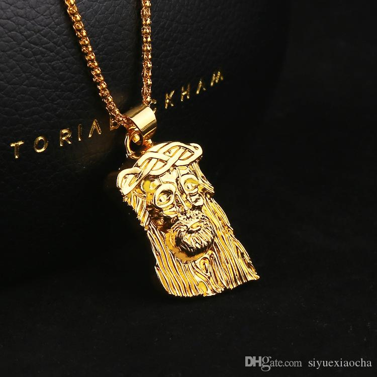 New style Hip Hop JESUS Christ Pendant Necklace With Corn Chain 24K Gold Plated, hign quality free shipping