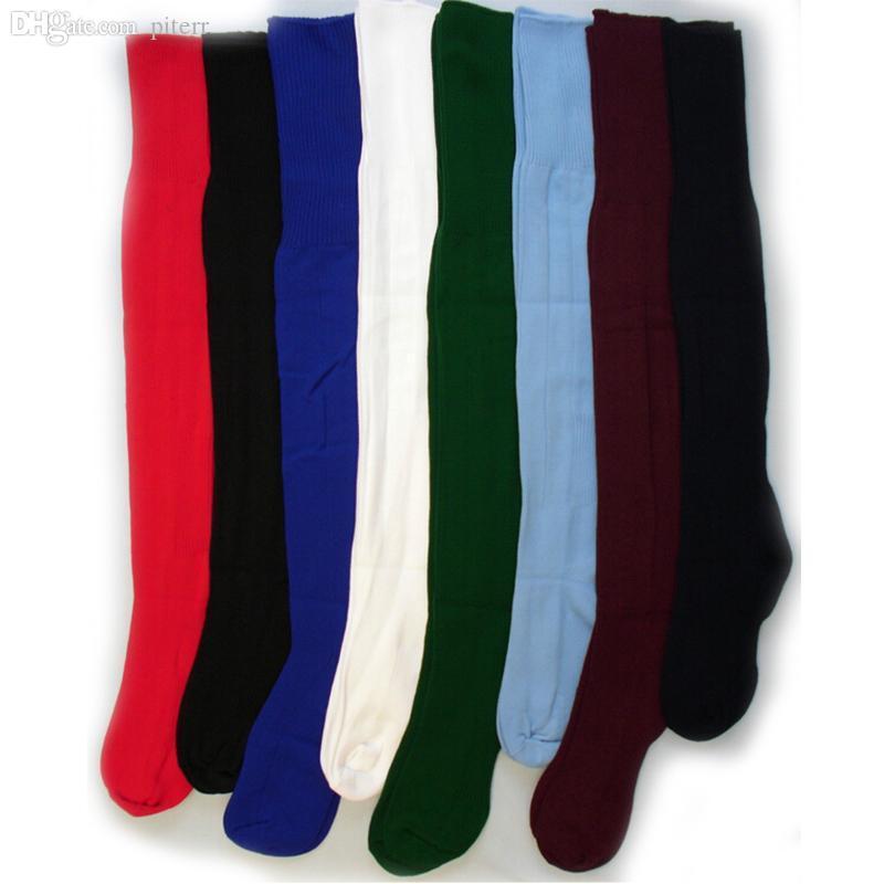 Gros-Mode 5 couleurs Nouveau Hommes Pure Color Cheville Longue Sur Le Genou Football Baseball Sport Chaussettes De Sport