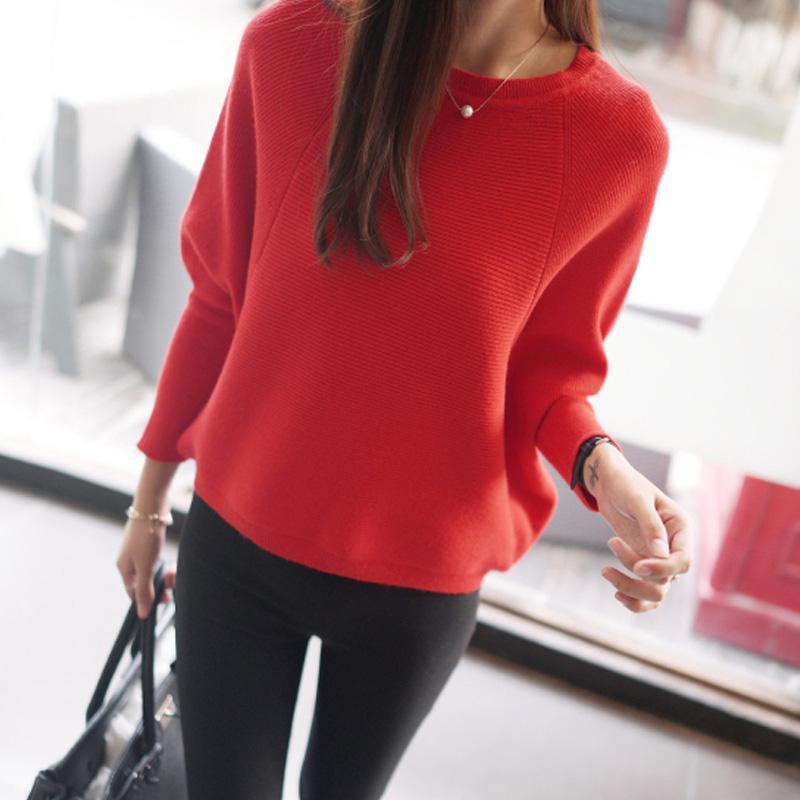 All'ingrosso- 2016 maglione di nuove donne maglione casual grande formato maglione allentato maglione moda pullover di colore solido