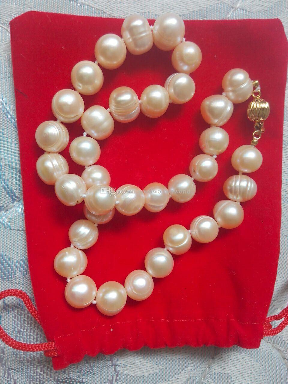 Rápido Frete grátis New Fine Pérola Jóias 100% natural 18 polegadas 11-12mm Natural mar do sul rosa pérolas de ouro colar de 925 prata