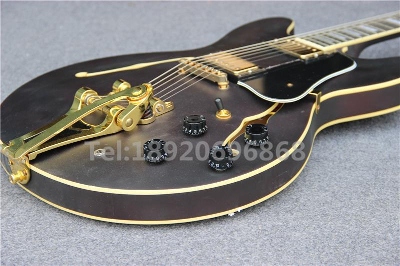 Custom F Hole hollow body 335 Jazz Electric Guitar Matte Brown with Yellow Binding & Bigsb tremolo system Golden Hardware