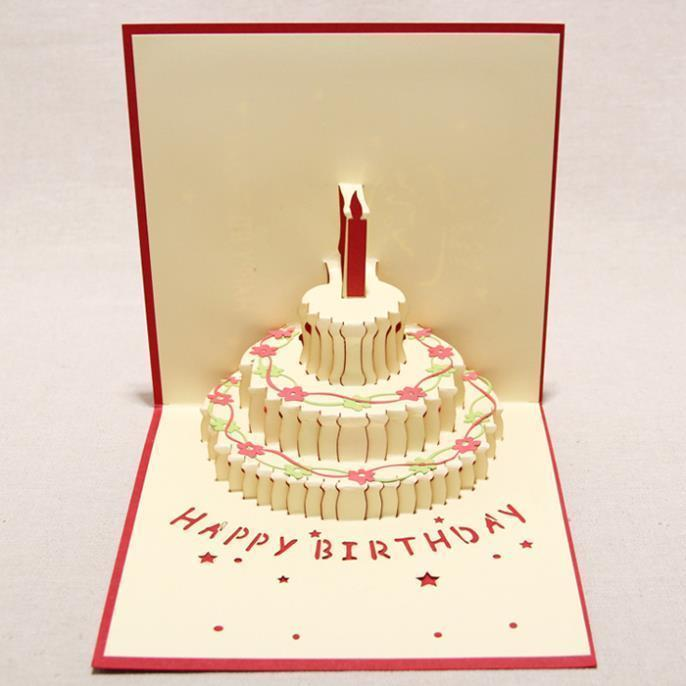 Nice New 2d Handmade Card Greeting Cards Kirigami Origami Pop Up Birthday With Candle Design For Party B Day