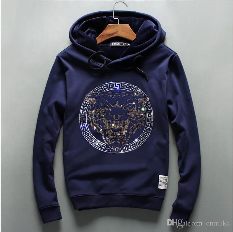 Homens de luxo por atacado de design de diamante engrossar hoodie quente moda masculina engraçado marca tops de algodão e Hoodies t03