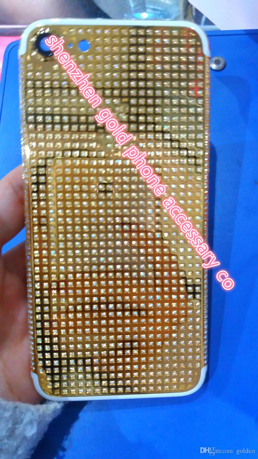 2019 Wholesale For Iphone 7 24k 24kt 24ct Rose Gold Limited Edition Back Cover Housing Replacement Middle Frame With Logo Full Swarovski Zirconia From