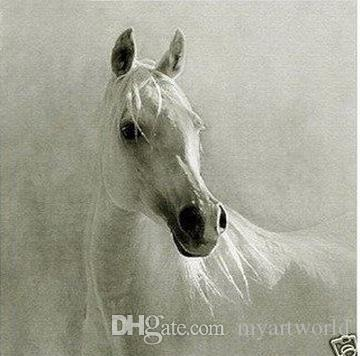 Framed beautiful white horse,Pure Handpainted Modern Abstract Decor Wall Art Oil Painting On Thick Canvas.Multi sizes,Free Shipping,ali-best