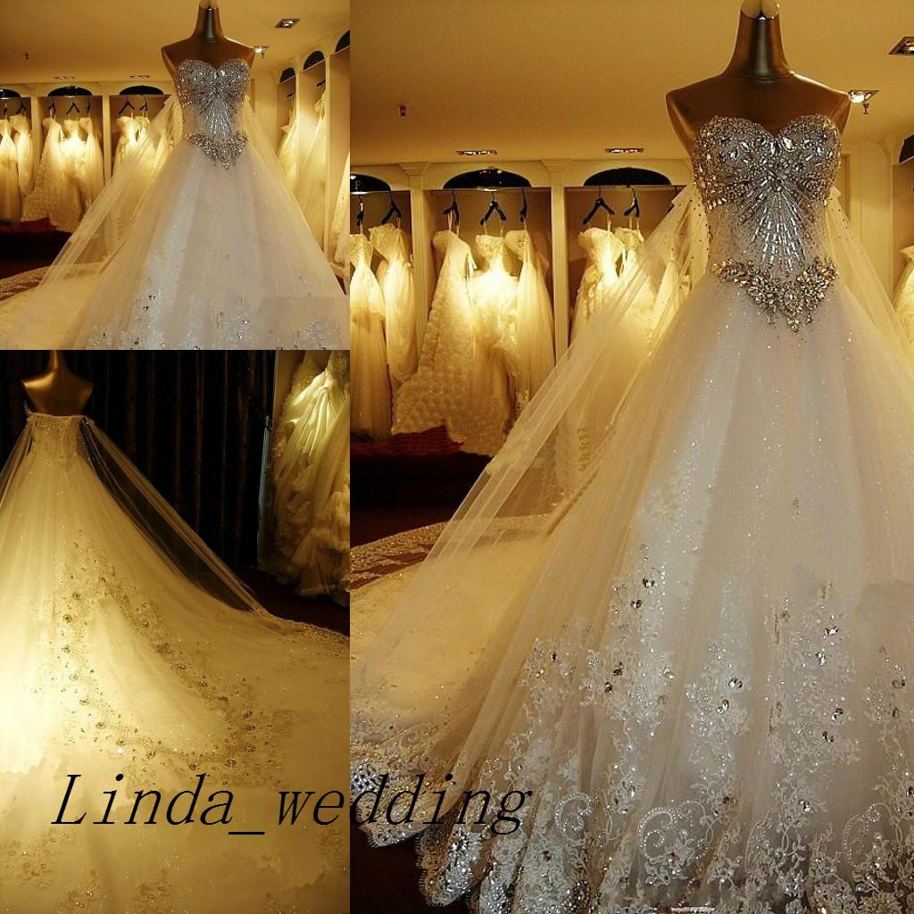 Free Shipping Luxury Sweetheart Wedding Dresses Bling Crystal Sparkling Long Train 2019 New Bridal Gown Wedding Dress