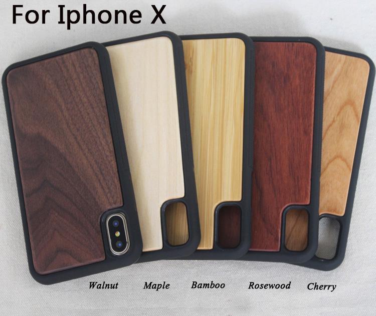 Nouveau produit couverture en bois de téléphone pour Iphone X 8 7 plus 6 6s cas de téléphone portable personnalisé bois bambou iphone cas pour Samsung S8 Plus S7 Edge