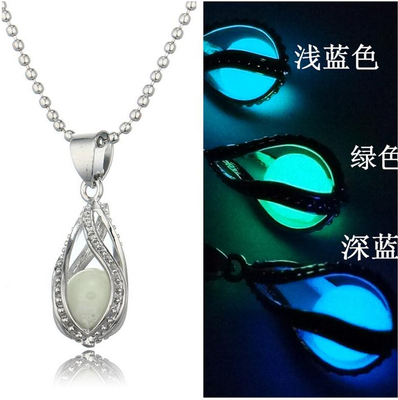 European and American fashion selling water droplets can open hollow spiral luminous pearl necklace jewelry creative luminous mermaid shape