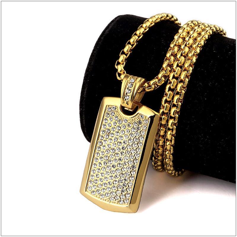 Acciaio inossidabile titanio punk hip hop gioielli 24 k placcato in oro strass dog tag pendente lunga collana a catena per le donne degli uomini