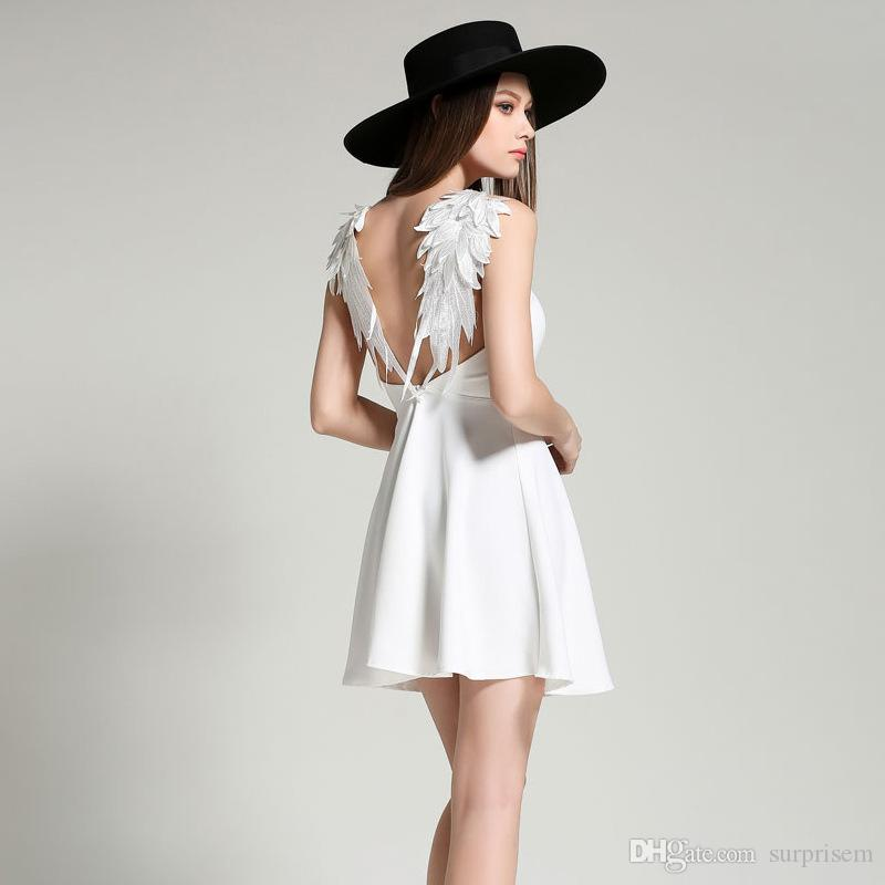 Sexy Embroidery Wing Dress Mini Angel Lace Backless Skirt Sling ...