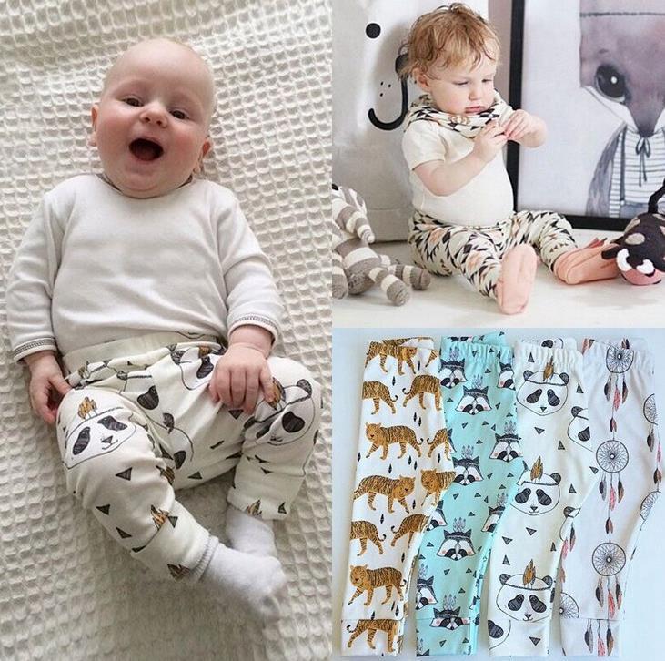 Hot INS Vintage Baby Catoon Animal Stampa Harem Pants Bambini Pantaloni casual Ragazzi e ragazze Pantaloni Bambini PP Pantaloni Abbigliamento infantile