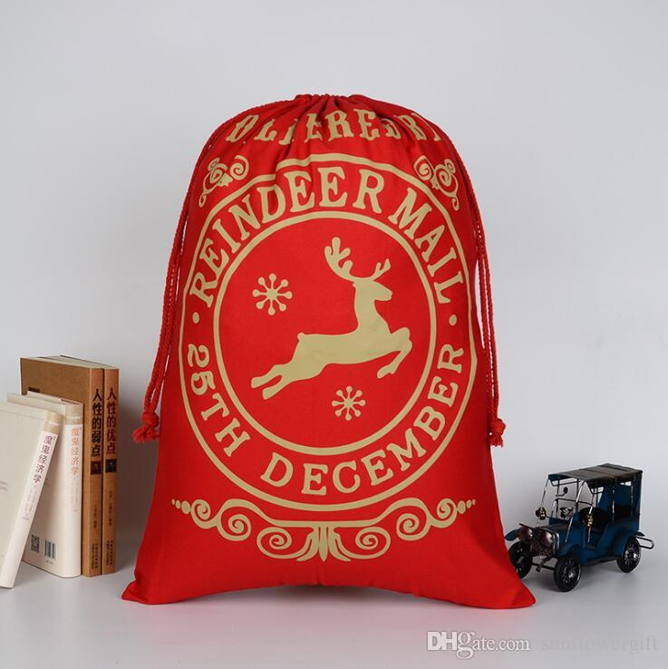Heiße Verkaufs-neue Ankunfts-Sankt Sacks Styles Kordelzug Canvas Santa Sack Große Weinlese-Weihnachtsgeschenk-Tasche