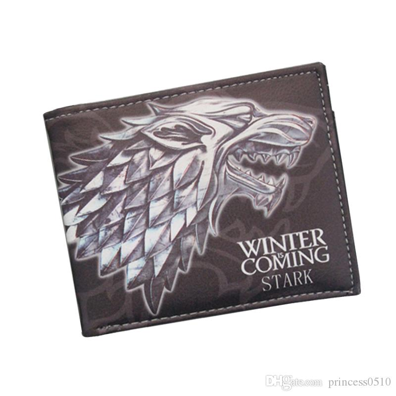 Ancient Costume Movies GAME OF THRONES Wallets Cartoon Anime Wolf Wallets For Boys Girls Money Bag Animal Purse ID Card Holders Wholesale