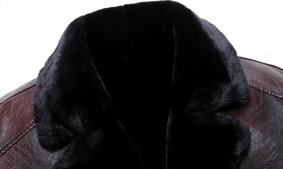 Yeni Kış Han baskı Kürk Ceket Yaka, Ceket Bir Kişinin Ahlak Yetiştirmek Kalın Uzun Deri Ceket ile Bir Erkek Erkek