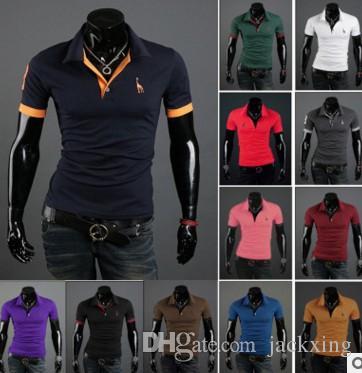 T-shirt uomo bicolore coreano da uomo slim design a manica corta T-shirt camicie POLO di varie dimensioni