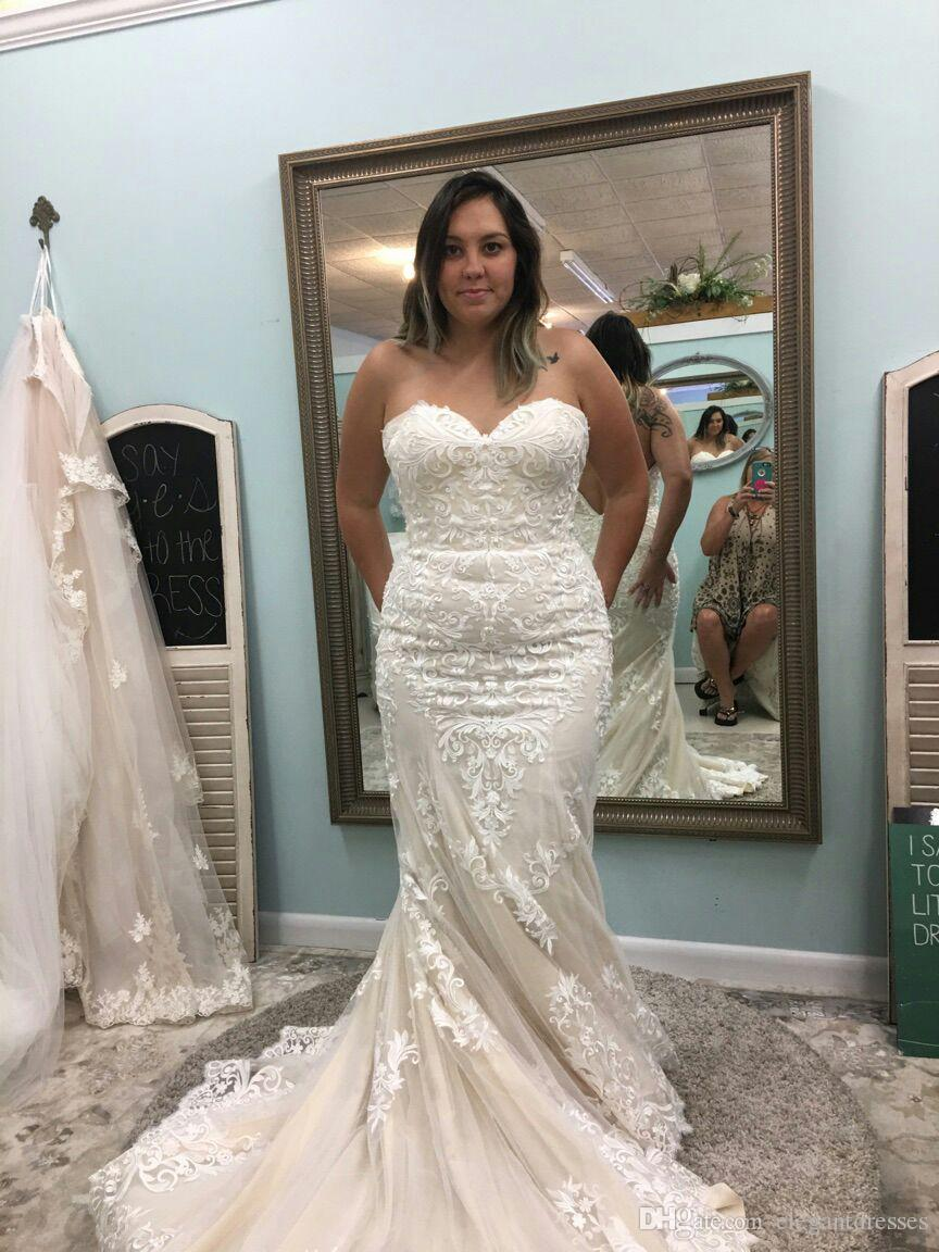 2018 Newest Sexy Mermaid Plus Size Beach Sweetheart Strapless Lace ...