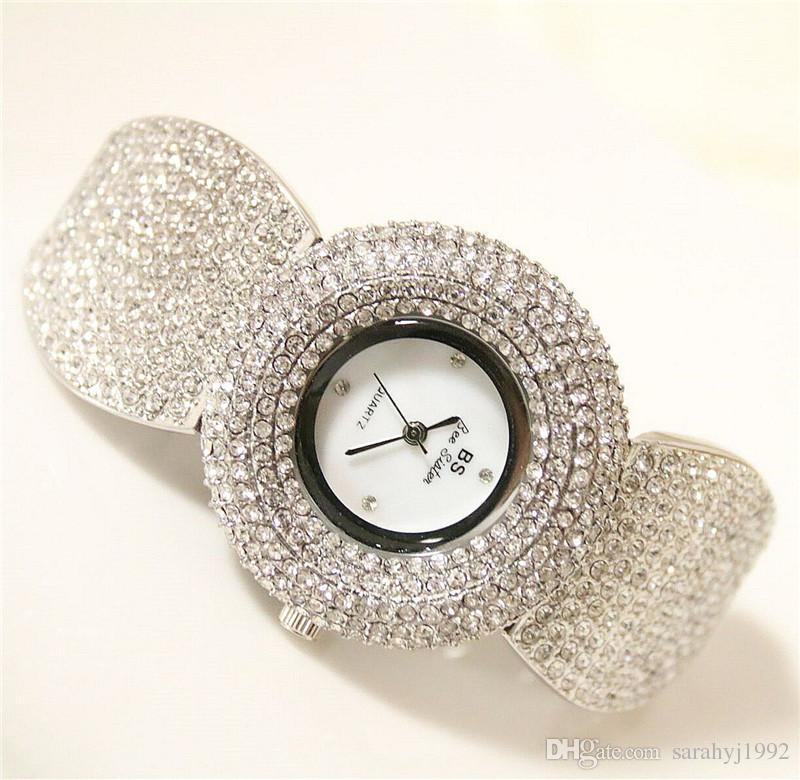 BS new high-end Chain Watch Diamond Drill Female Wristwatch Women Watch Fashion Women Dress Brand Watch
