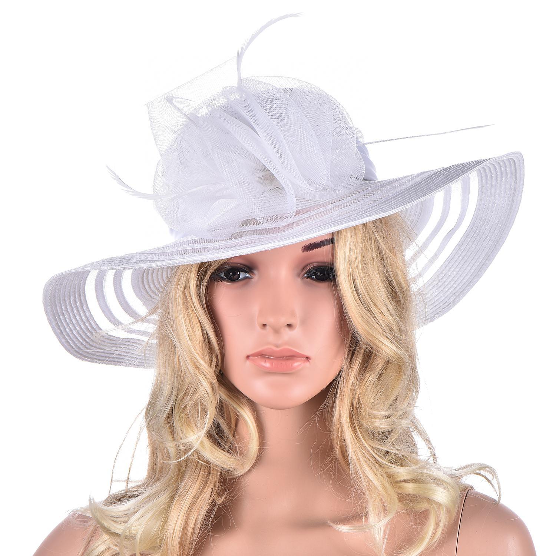 Womens Tea Party Grande Brim Floral Pena Poliéster Kentucky Derby Church Dress Sun Beach Hat A340