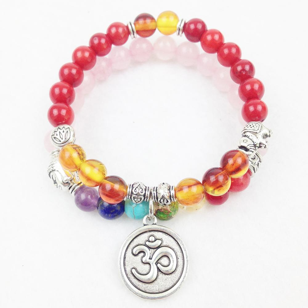 SN0191 Top Quality Red Coral Amber Beads Bracelet Luxurious Yoga Bracelet 8mm Mala Beads Chakra OM Charm Necklace Free Shipping