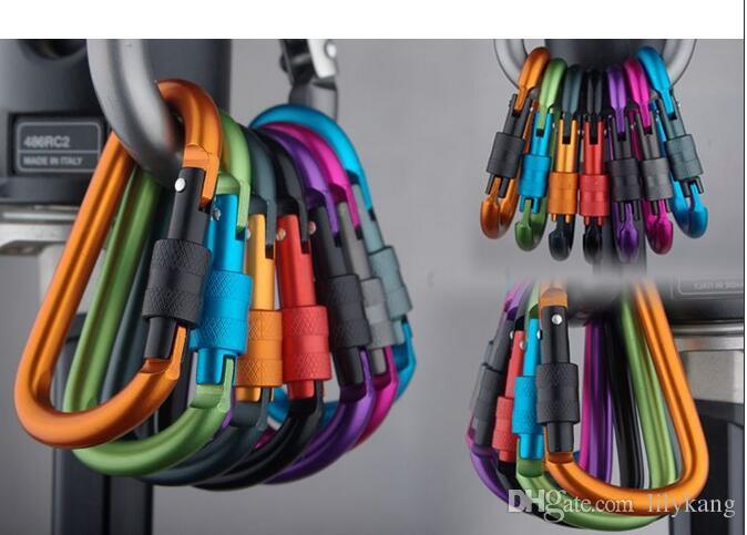 Outdoor-Camp Karabinerhaken Haken Schlüsselanhänger Aluminium-Karabiner D-Ring Schlüsselanhänger Clip Schlüsselanhänger Karabinerhaken im Freien Spielraum Karabiner Kit