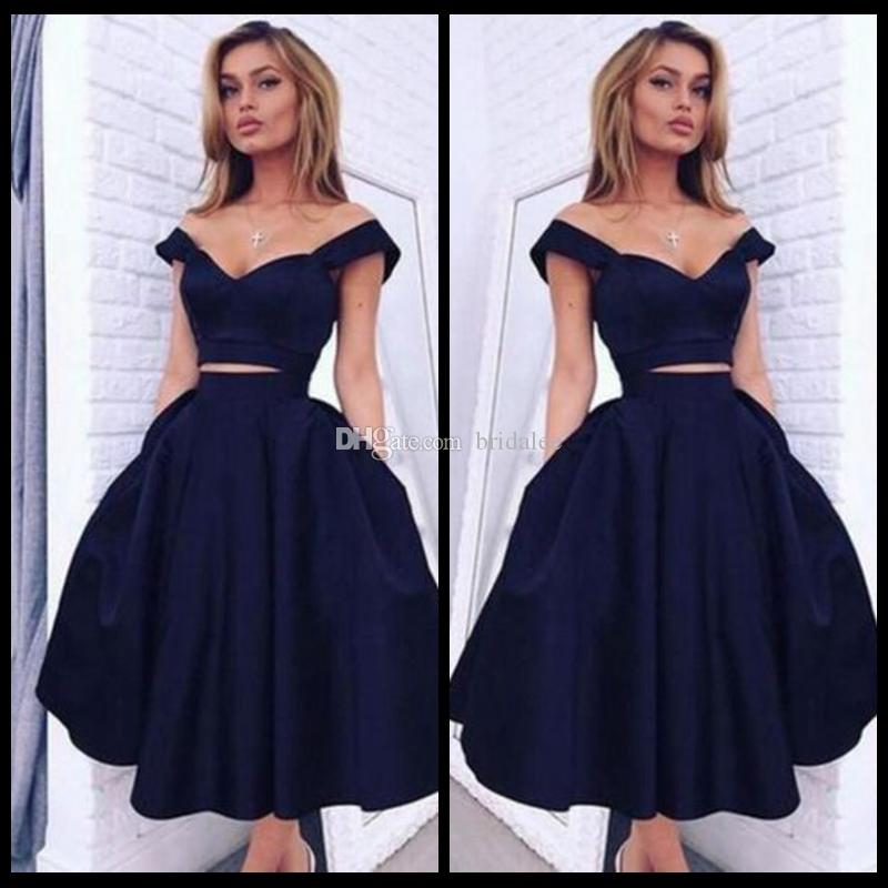b7cbde0f53 2017 Navy Blue Two Piece Prom Dress Off Shoulder Sweetheart Neck Tea Length  Satin Evening Prom Party Gowns