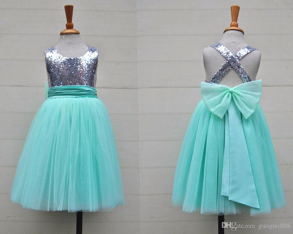 6e8e7b3c41f66 Silver Sequin Mint Tulle Flower Girls Dress Baby Infant Toddler Kids Dress  Juniors For Wedding Pageant Tulle Gowns Girls Shoes Short Dresses From ...