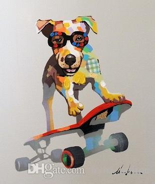 Высококачественная собака на скейтборде Cool Terrier, чистые ручные ограждения животных искусство живопись масляными маслом на холсте домашний декор стен много размеров JN072