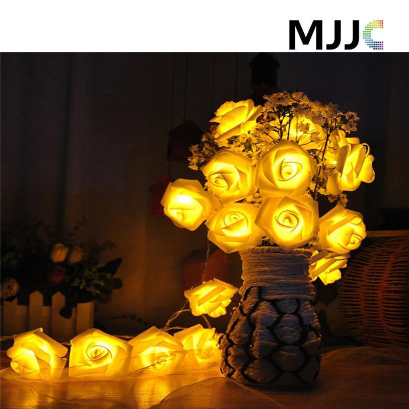 Новинка роза цветок фея свет шнура 7 цвет ночной свет 20 х LED для свадьбы садовые рождественские украшения