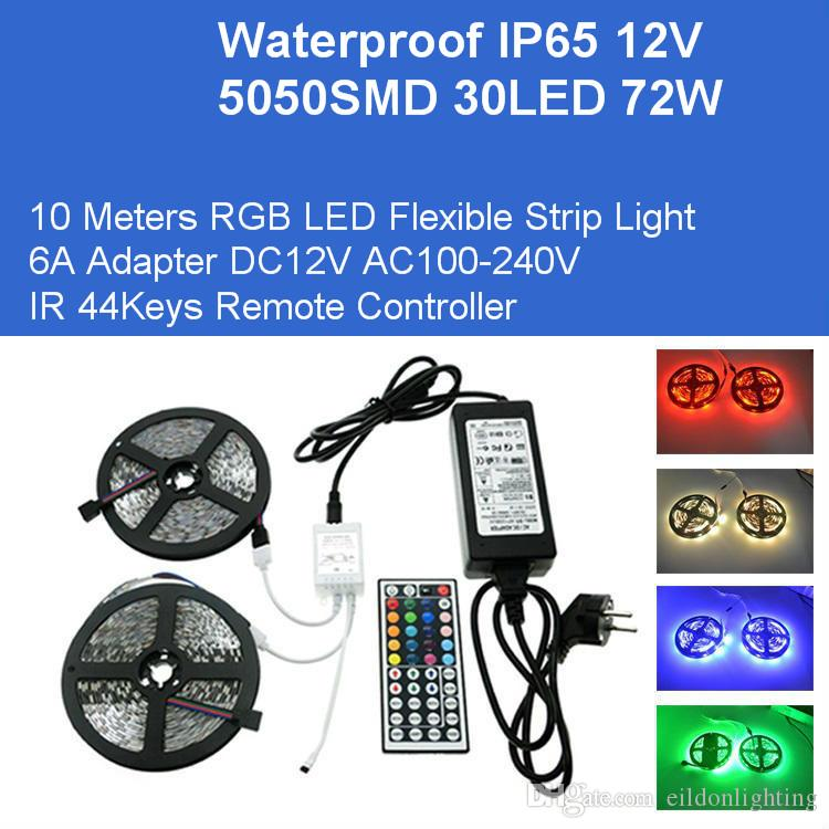 DC12V 10M RGB Esnek 5050 300LEDs 72W Kiti LED Işıklar Adaptör IP65 su geçirmez lambalar IR Uzaktan Kumanda Doğrudan Çin Toptan Şeritleri