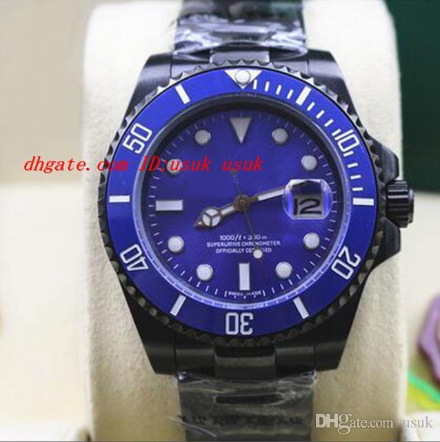Relógio de pulso de luxo de NEW MENS STAINLESS STEEL PVD revestimento CERAMIC BLUE Dial # 116610 40 MM homens mecânicos automáticos relógios de qualidade superior