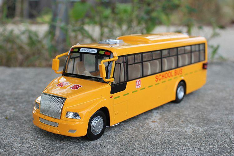 Modelo de autobús de aleación, juguetes de autobús escolar amarillo, alta simulación con sonido, luces de cabeza, niños 'regalos, colección, decoración del hogar, envío gratis