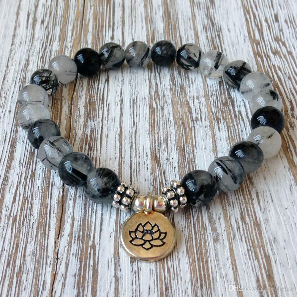 SN1065 Grade Genuine Rutilated Quartz Bracelet High Yoga Men`s Bracelet Depression Anxiety Relief Wrist Mala Beads Jewelry Wholesale