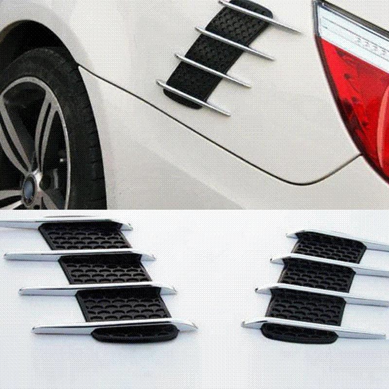 2Pcs 상어 아가미 자동차 스타일링 3D 통풍 공기 흐름 펜더 크롬 합금 금속 스티커 데칼 자동차 또는 트럭 사용자 정의 스티커 무료 배송