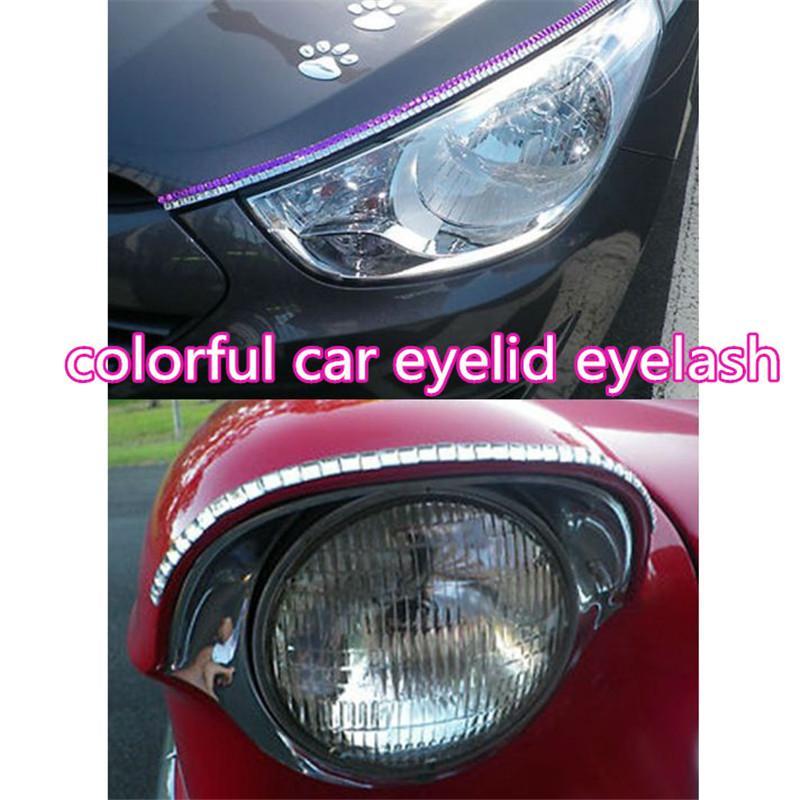 Pestañas del coche para los faros del coche Rhinestone cristalino ojo línea de las pestañas de la pestaña auto etiqueta autoadhesiva decoración atp224