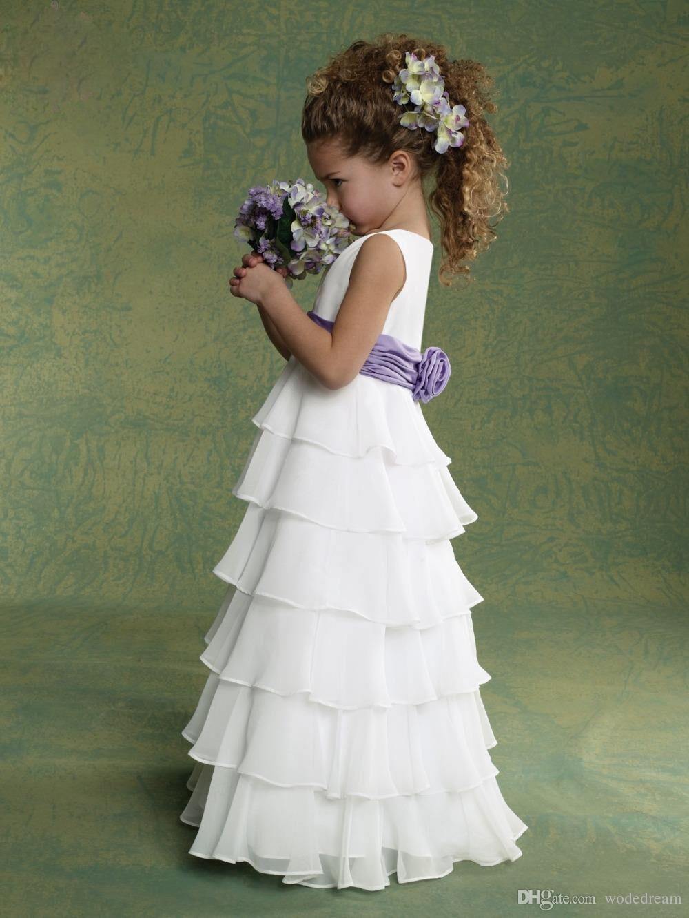 2020 robes de demoiselle d'honneur pleine longueur A-line en mousseline de soie à couches froncées superposées chaude petite fille communion taille enfant 2-14 fabrication sur mesure