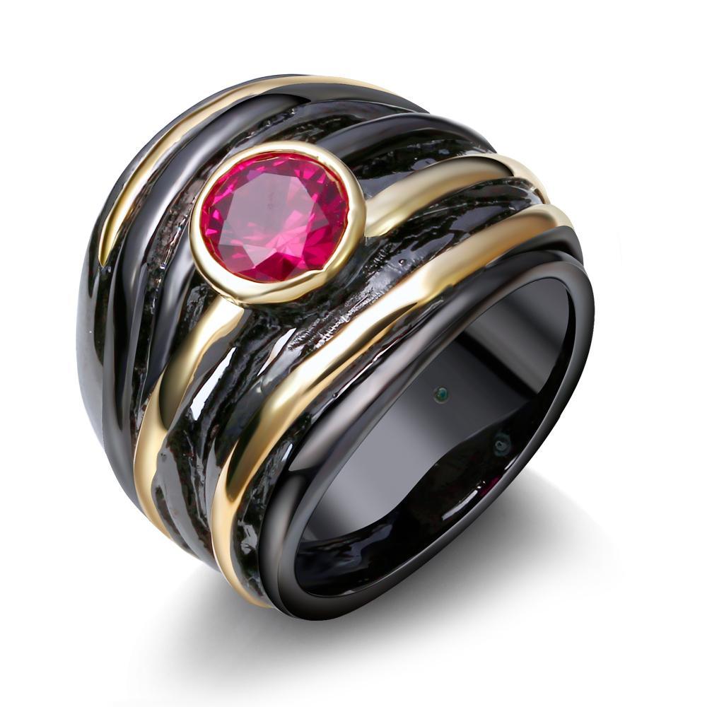 Anéis de zircônia cúbica rubi chapeado por IP ouro preto e ouro atacado moda jóias melhor presente