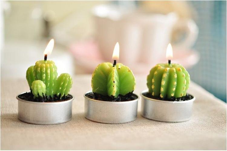 Cactus Plant Candles 6pcs Cactus Plant Grape Candles Compleanno Decorazioni di nozze Cena Candle Decoration Paraffin Candele creative