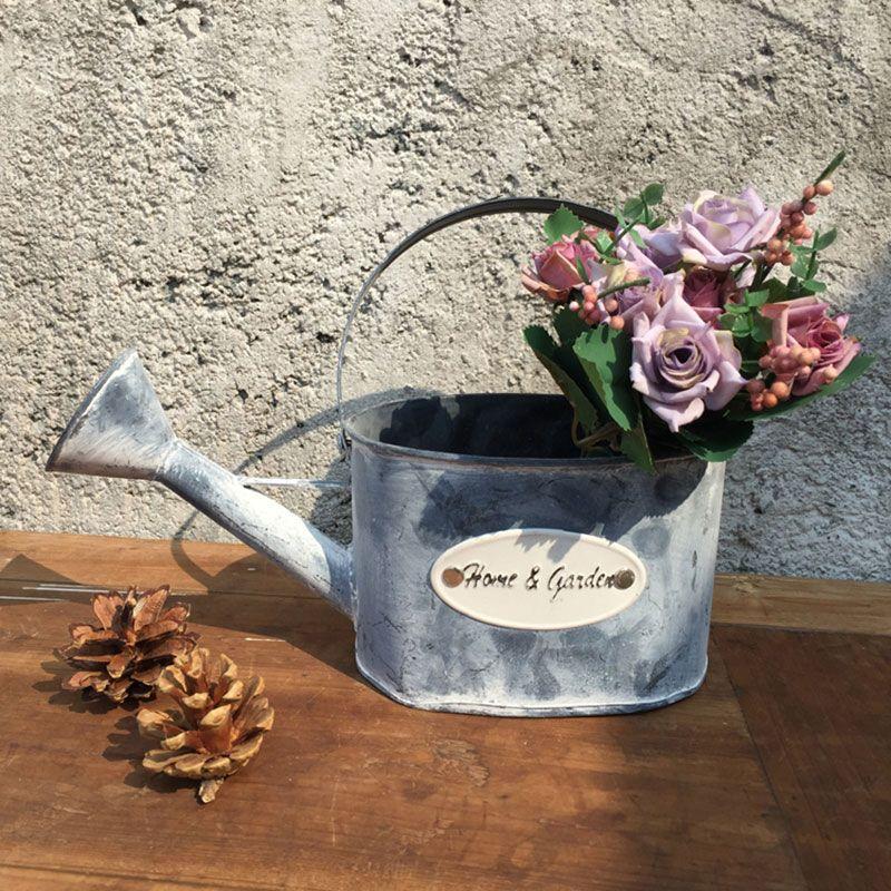 Retro Metal Flower Plant Pot Succulent Planter Small Bucket Gardening Yard Decor