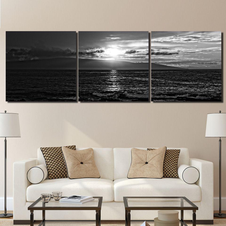 3 قطعة / المجموعة البحرية الغروب أسود أبيض قماش اللوحات ديكور المنزل جدار الفن مؤطر الملصقات hd يطبع صور اللوحة